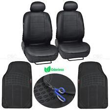 6 Piece Car Auto Seat Cover - Black Low Bucket Seats Odorless Rubber Floor Mats