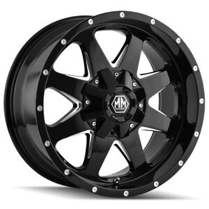 "Mayhem 8040 Tank 17x9 5x4.5""/5x5"" -12mm Black/Milled Wheel Rim 17"" Inch"