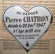 Large Antique Vintage French Enamel Heart Shaped Memorial Plaque Dated 1947