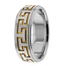 Wedding Bands, 7.50mm, 10K Solid Gold Designer Ring, Size 4-13 Made in Usa