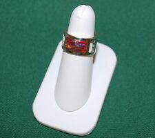STERLING SILVER Ring Size 7 Fire OPAL WIDE Wedding BAND PIPE CUT Mosaic
