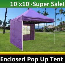 10'x10' Enclosed Pop Up Canopy Party Folding Tent Gazebo - Purple - E Model