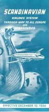 SAS Scandinavian Airlines System timetable 1946/12/10 Transatlantic