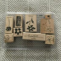 Stampin up Heartfelt Thanks Flower Watercolor Stem Two-step Stamp Set of 9 EUC
