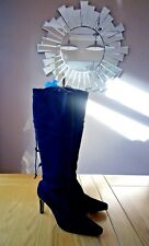 """LADIES KNEE BOOTS - Size 5. BLACK SUEDE - Heel Size 3"""". Marks and Spencer."""