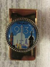 Money Clip.(1934 Chicago Skyline) .New.gold tone
