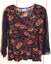Jane Ashley Woman BOHO Gypsy Romantic Floral Bling Top Womens Sz 1X Sheer Sleeve