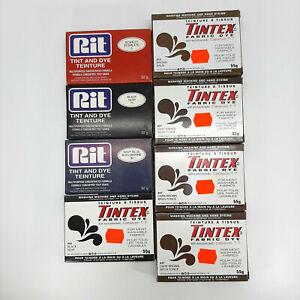 Fabric Dye Powder Rit Tintex New Lot 8 Boxes Brown Black Navy Blue Scarlet