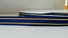 "16mm (5/8"")  wide NAVY GOLD STRIPE CAPTAINS' NAUTICAL WOVEN DOUBLE SIDED RIBBON"