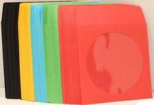 1000 ASSORTED COLOR CD DVD Paper Sleeve Envelope w/ Window Flap