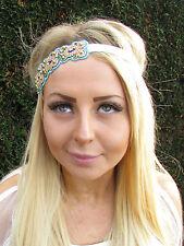 Turquoise Gold Cream Beaded Headband Ethnic Hippy Boho Festival Headpiece 1743