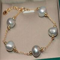 10-11mm White Baroque Pearl Adjustable Bracelet 7.5 inches gorgeous Women gift