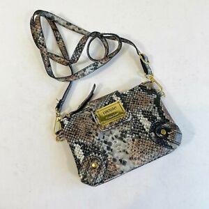 Nicole Miller Black 100% PVC Snakeskin Crossbody Mini Bag Magnetic Womens Purse