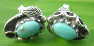 """100% REAL 925 sterling silver """"REAL TURQUOISE"""" & Oxidised Studs EARRINGS - WOMEN"""