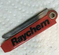RAZOR KEYCHAIN KNIFE MADE IN USA RAYCHEM Advertising Pocket Knife