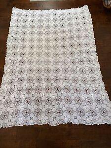 Vintage Handmade Crochet Tablecloth Blanket