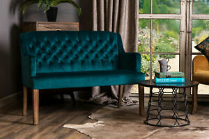 2 SEATER BLUE TEAL VELVET UPHOLSTERED DINING BENCH FRENCH STYLE BUTTON BACK SOFA
