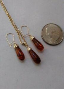 Vtg Genuine Amber Gemstone 14k GFD Earings GPD Necklace Pdnt Set