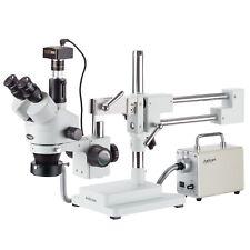 3.5X-180X Simul-Focal Trinocular Stereo Microscope + LED Fiber Optic + 1.3MP Cam