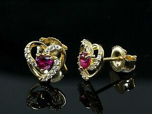 750 Gold kleine Herz Ohrstecker Grösse 7,8 mm mit Herz Rubinen 1 Paar