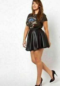 New women's Pvc Wet Leather Look Flared Womens Shiny Mini Skater Pu Skirt 8-26