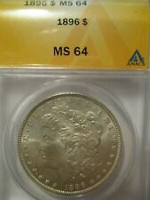 1896  MORGAN SILVER DOLLAR, ANACS GRADED MS64  WOW..BEAUTIFUL LUSTER, TONED COIN