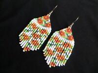 Floral Beaded Earrings Seed Bead earrings fringe earrings handmade jewelry bead