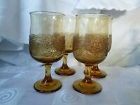 Libbey Amber Glass Water Goblets Raised Brown Lace Overlay Set Of 4