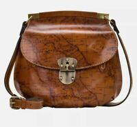 Patricia Nash VENETO Leather Crossbody Bag MAP PRINT-NWT-Orig. Price $134.99