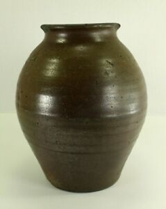 = Antique ea.1800's Ovoid Stoneware Jar Crock Southern Pottery East Tennessee