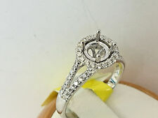 14k White gold Diamonds Semi mount Ring,Halo Style.size 6.5