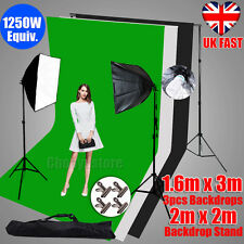 1250W Photography Studio Soft Box Continuous Lighting Backdrop Stand Softbox Kit