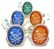 Floral Bouquet Jasperware Cameo Oval Ring Old Store Stock Sterling Silver Flower