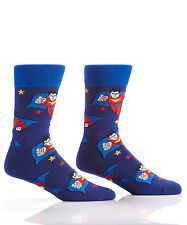 Yo Sox Flying Superhero Design Men's Crew Socks   Fits 7-12