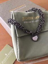 Judith Ripka 8 Inch Black Sterling Silver Bracelet & Diamonique Heart Charm NEW