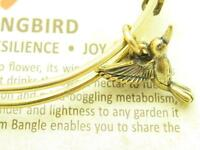 Wind and Fire Humming Bird 3D Charm Gold Wire Bangle Stackable Bracelet Gift