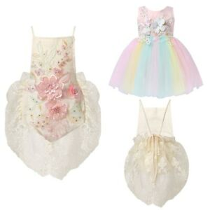 Baby Girls Romper Dress Floral Bodysuit Birthday Party Fancy Dress Up Clothes