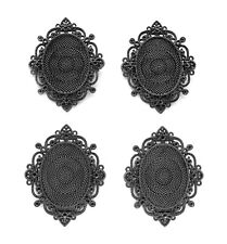 4 Antique GUNMETAL IMPERIAL 40mm x 30mm CAMEO Costume PENDANTS Frame Setting
