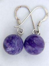 BUTW Charoite round sterling silver hook earrings Russian 4139P