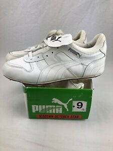Vintage Puma October Star Baseball Shoes Size 9 NOS 70s White Metal Cleat Rare