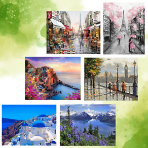 Frameless Paint by Numbers Painting Kit Canvas Wall Art Home Acrylic Landscape 2