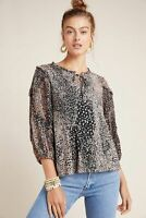 Anthropologie Maeve Women's Jacquin Brown Animal Print Peasant Blouse Top Small