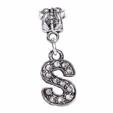 Letter S Clear Rhinestone Alphabet Initial Dangle Charm for European Bracelets