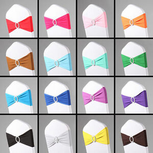 50PCS Spandex Stretch Wedding Chair Cover Sashes Bow Band Party Banquet Decor