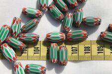Green & Red 6 Layer Chevron 7x10mm Glass Oval Beads /20pcs/TSF10