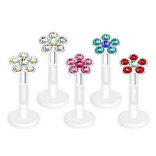 "L#99 - 5pcs Flower Gem Bioflex Labrets 16g 5/16"" Bio-flex Monroes Body Jewelry"