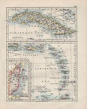 1909 VICTORIAN MAP ~ CUBA GREATER ANTILES LEEWARD BRITISH HONDURAS