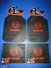 Dodge Ram Factory Logo Front Rear Rubber Floor Mats 4 PCS Set Car Truck SUV Vans