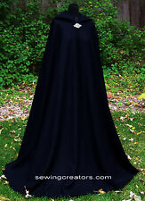 Black Hooded Adult Wool Cloak  Medieval Cape Bridal Wicca SCA By SewingCreators