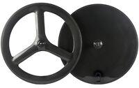 Front Tri Spoke Wheel Rear Disc Wheel 700C For Road/Track Bike Bicycle Wheelset